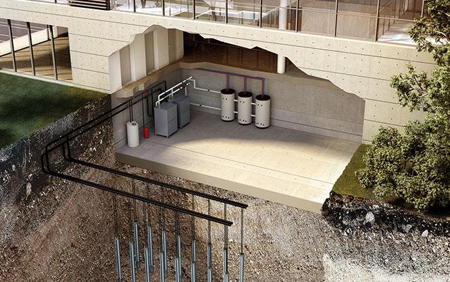 Geoterminis šilumos siurblys komerciniams pastatams su inverterine technologija